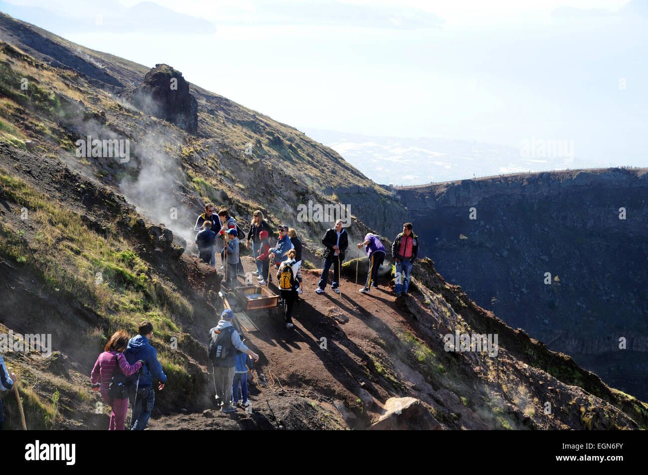 Vesuvio volcano Italy fumarole in volcanic crater fumaroles - Stock Image