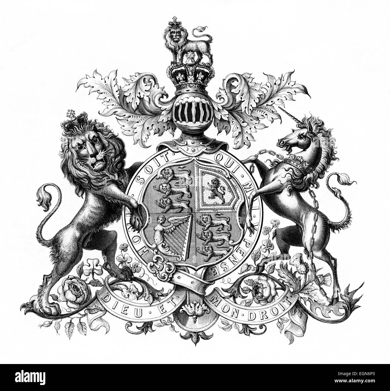 An Engraving Of The Uk Royal Coat Of Arms Scanned At High