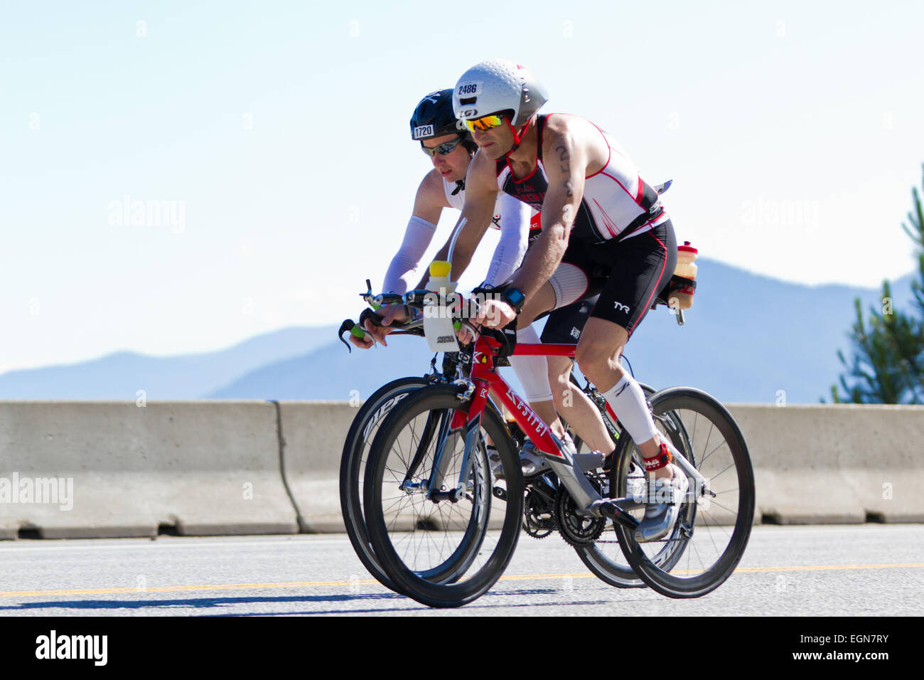 COEUR D ALENE, ID - JUNE 23: Triathlete on the bike part of