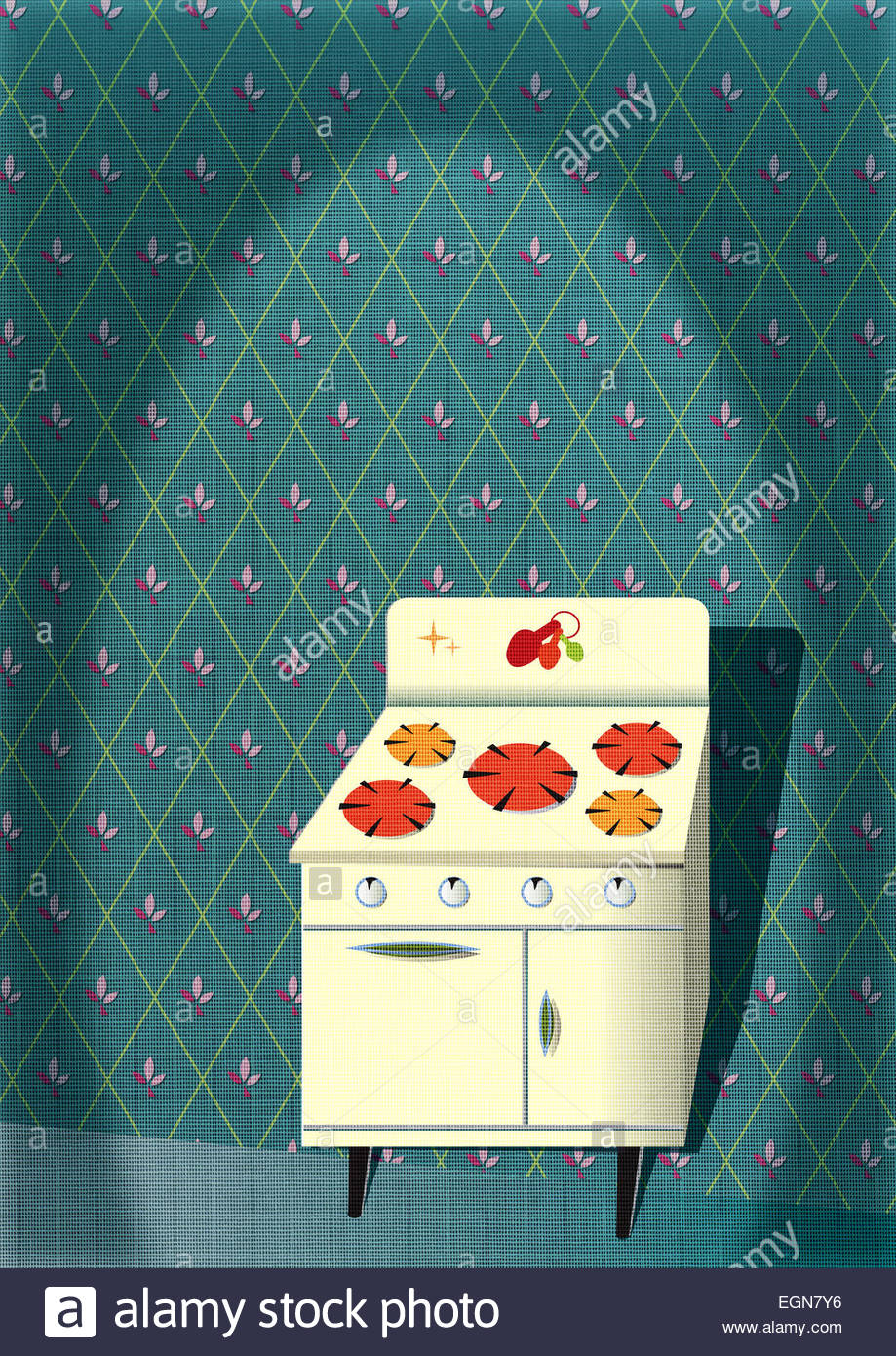 Retro kitsch in the kitchen! - Stock Image