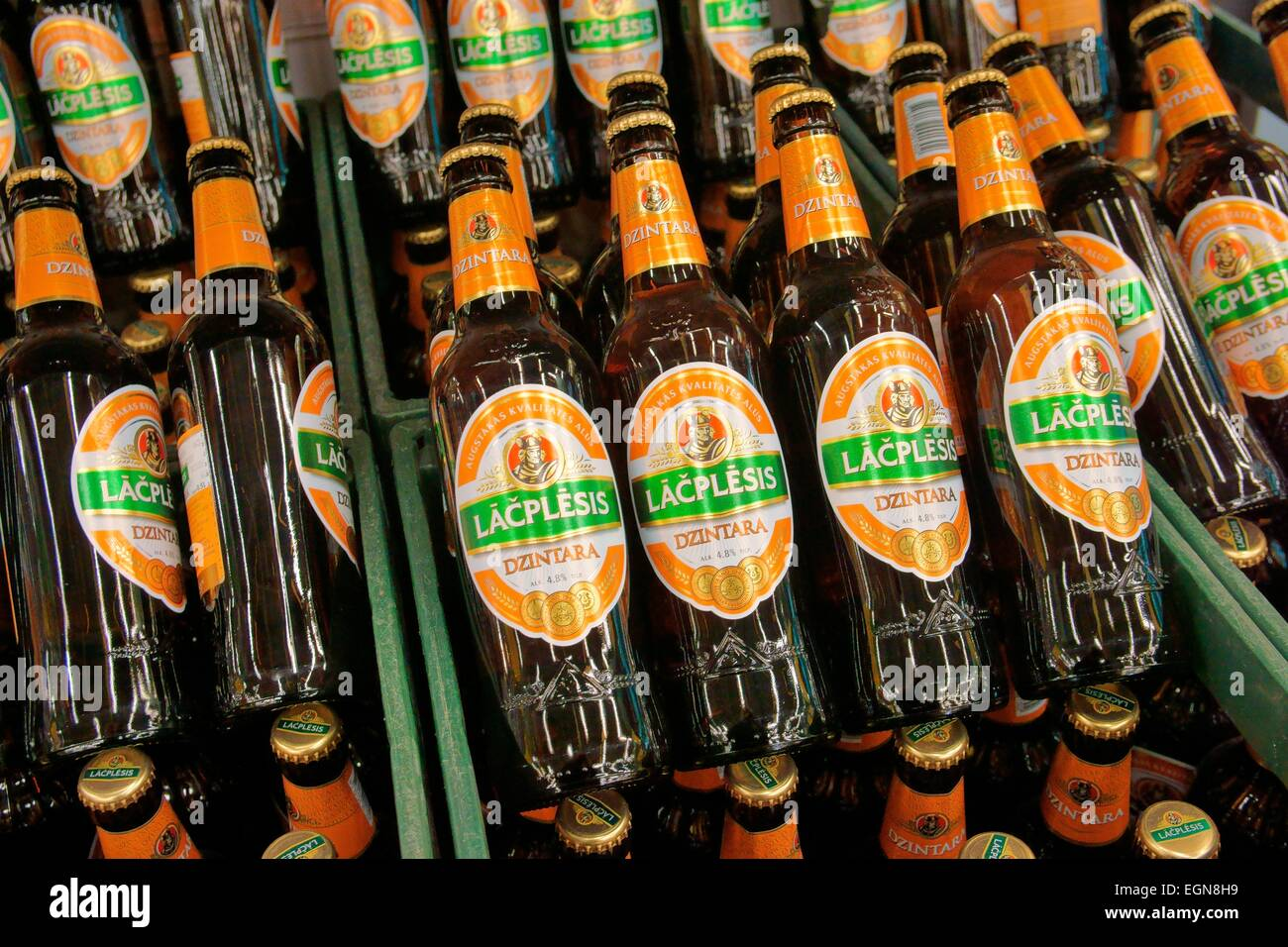Riga Latvia. Bottles of Lacplesis traditional Latvian beer on sale in Riga store. Named for Latvia national epic - Stock Image