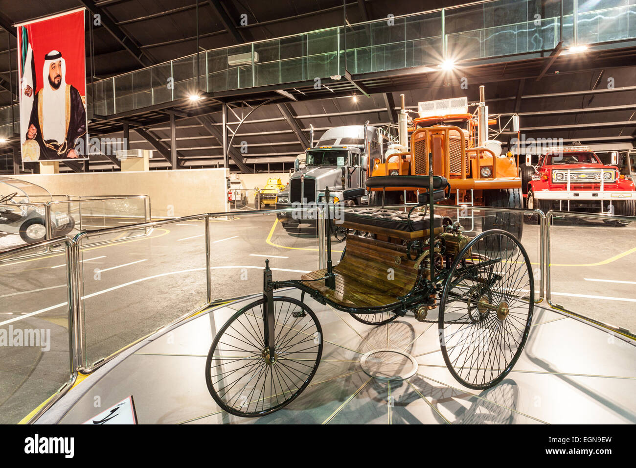 Benz Patent Motor Car at the Emirates National Auto Museum in Abu Dhabi - Stock Image