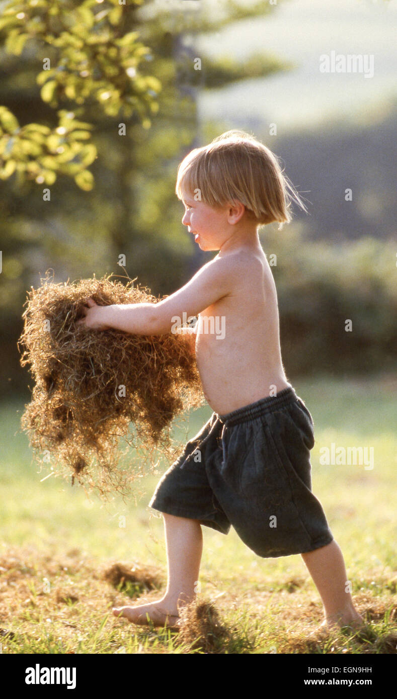 Young active Caucasian smiling happy barefoot boy holding hay in sunny natural country green grass field with tree - Stock Image
