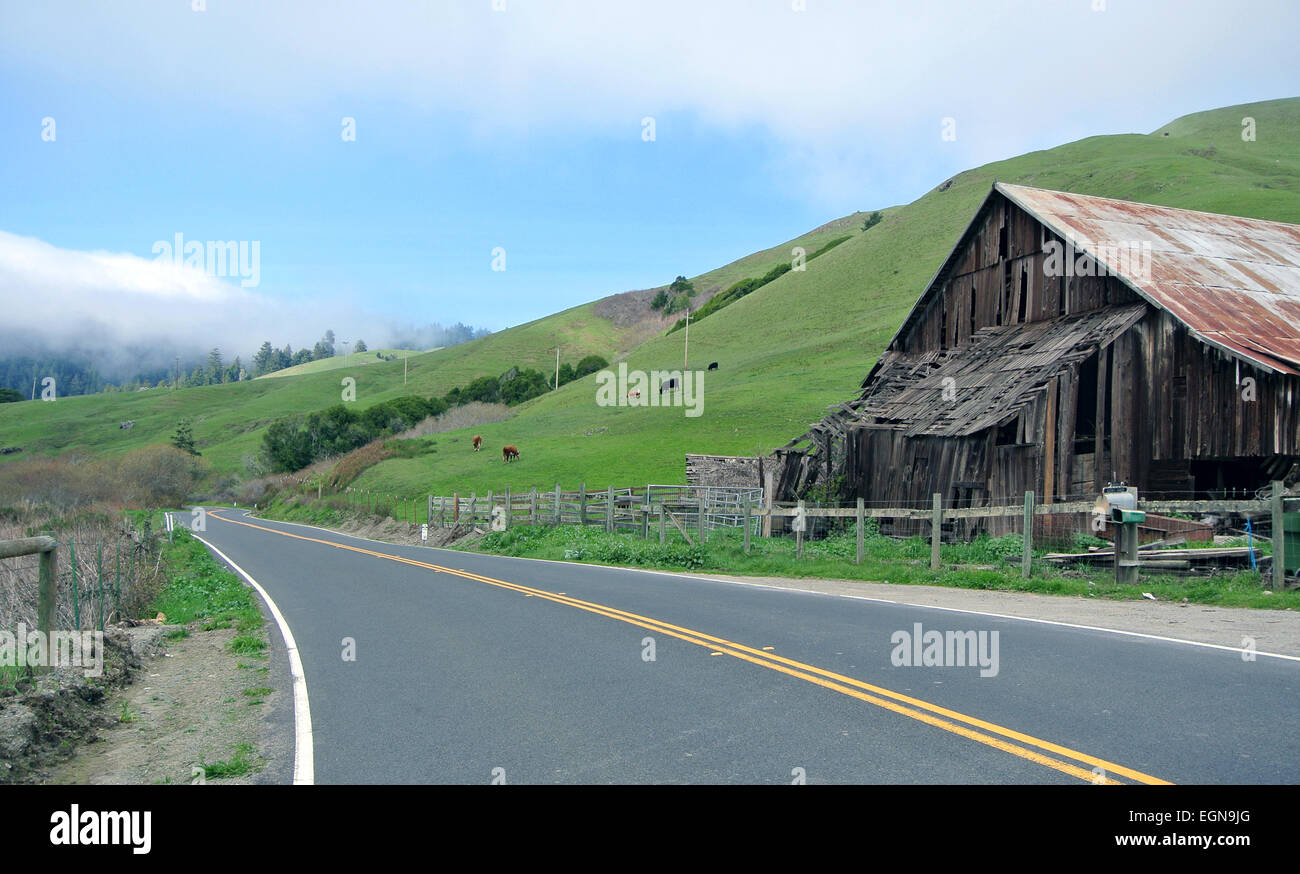 view of shoreline highway 1 and old barn along Pacific ocean - Stock Image