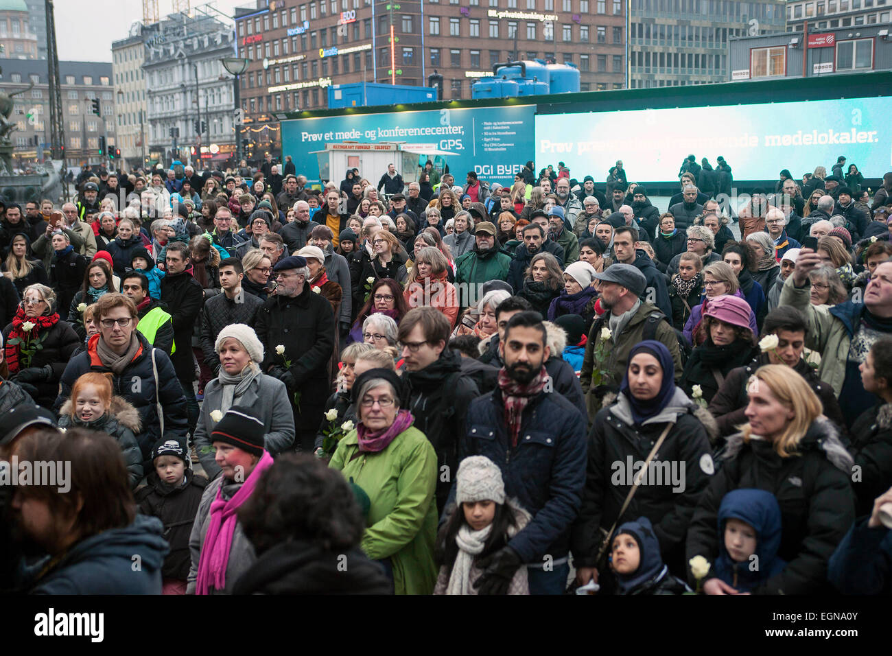 Copenhagen, Denmark. 27th February, 2015. Many hundreds Copenhageners joined the rally at Copenhagen City Hall Square - Stock Image