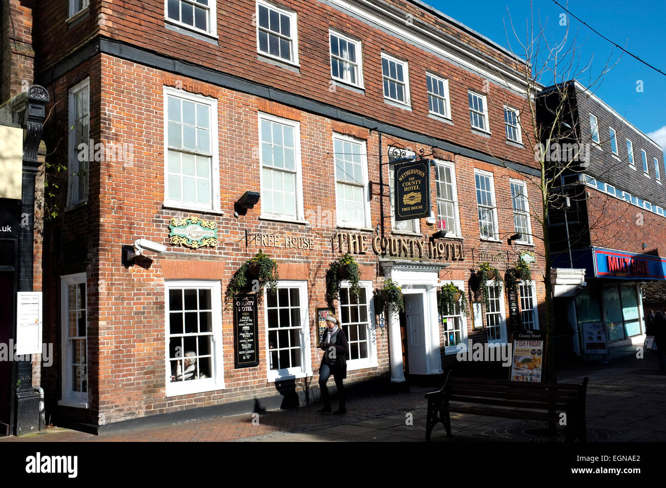 the county hotel in ashford town in the county of kent uk february 2015