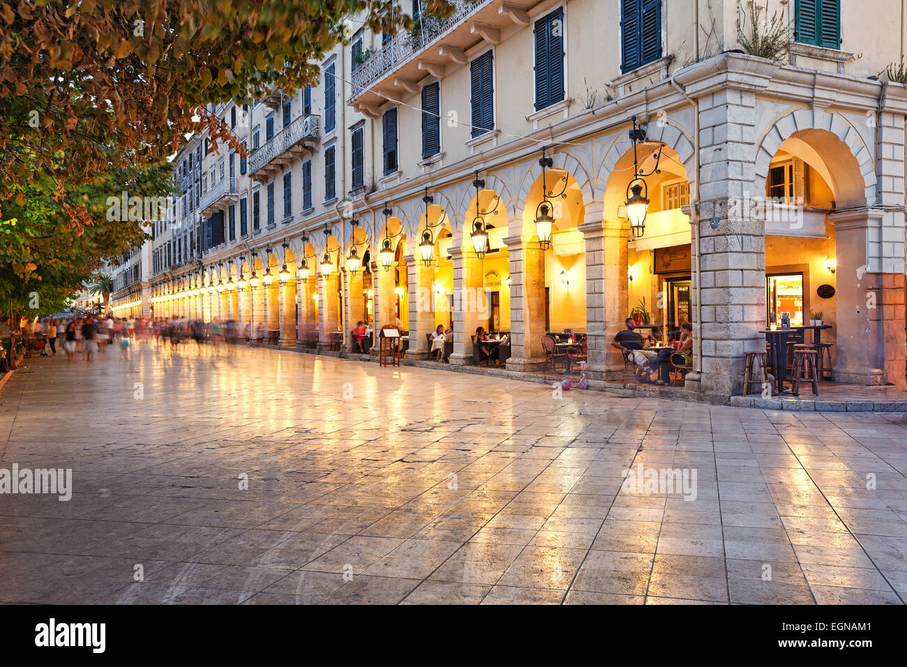 Liston square in the town of Corfu, Greece - Stock Image