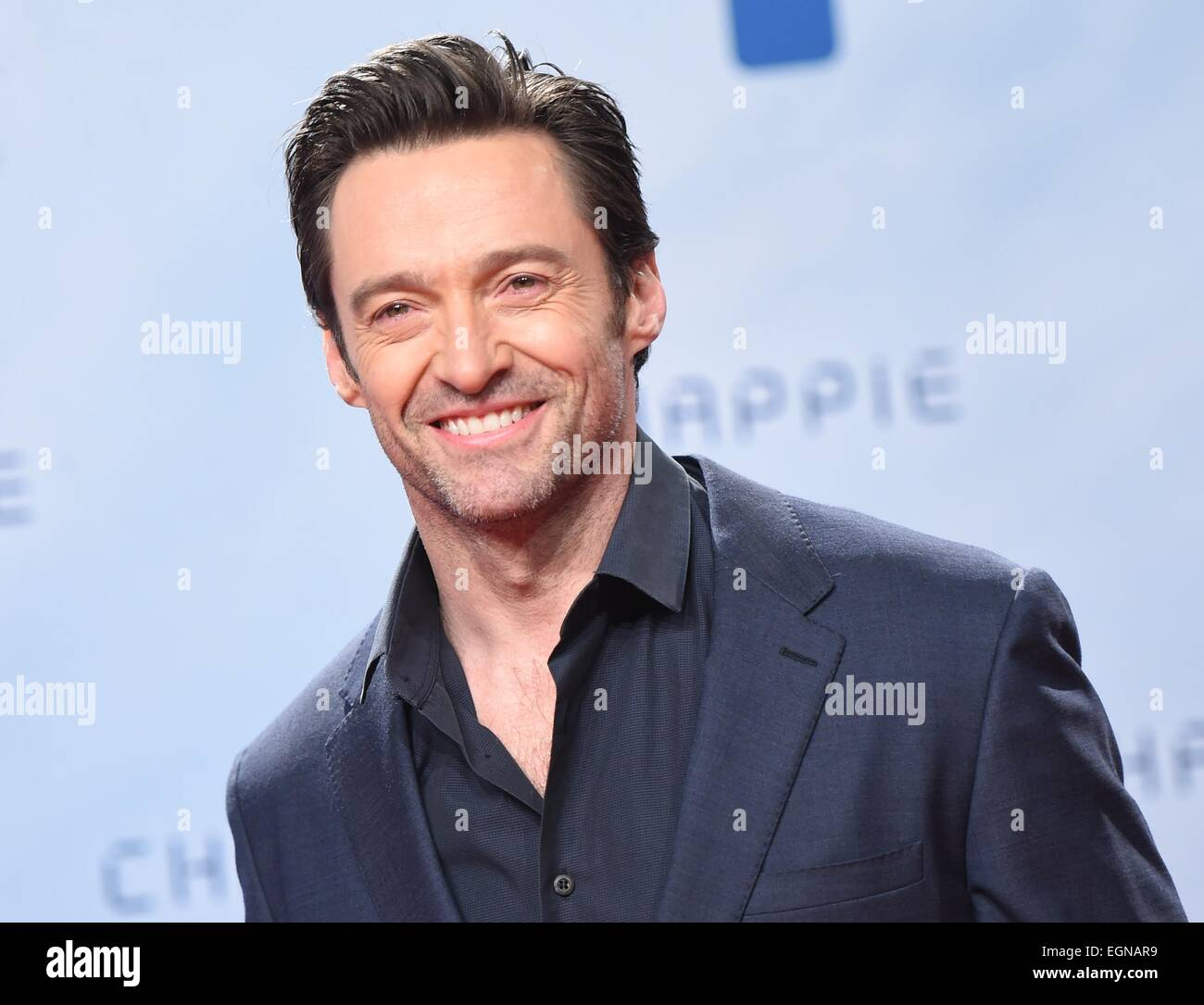 Australian actor Hugh Jackman    attends the fan event for her new film 'Chappie' in Berlin, Germany, 27 - Stock Image