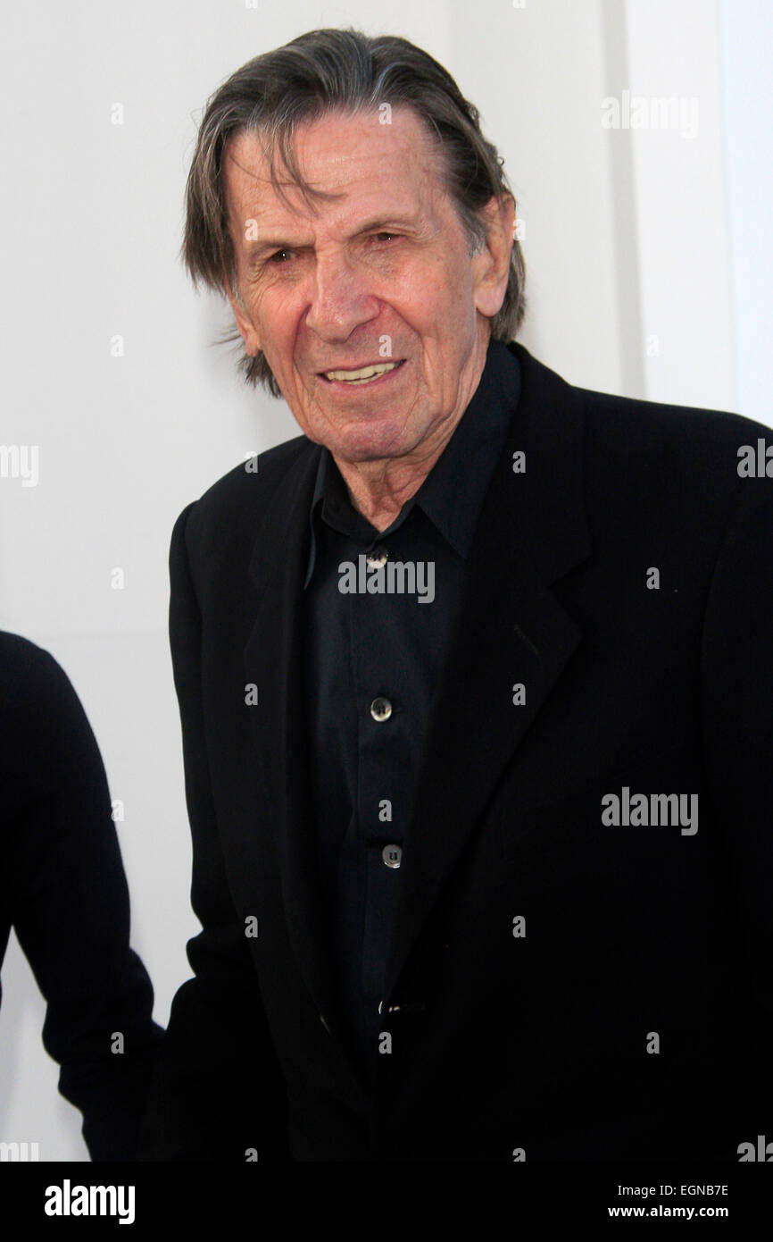 Leonard Nimoy attends the premiere of 'Star Trek Into Darkness' at the Dolby Theater in Hollywood, Los Angeles on Stock Photo