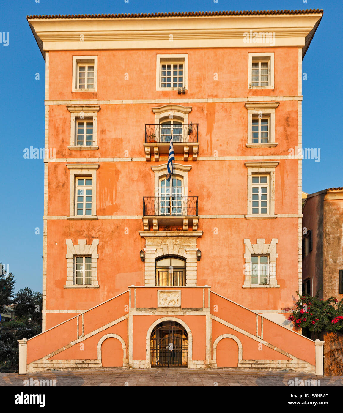 A building at the old town of Corfu, Greece - Stock Image