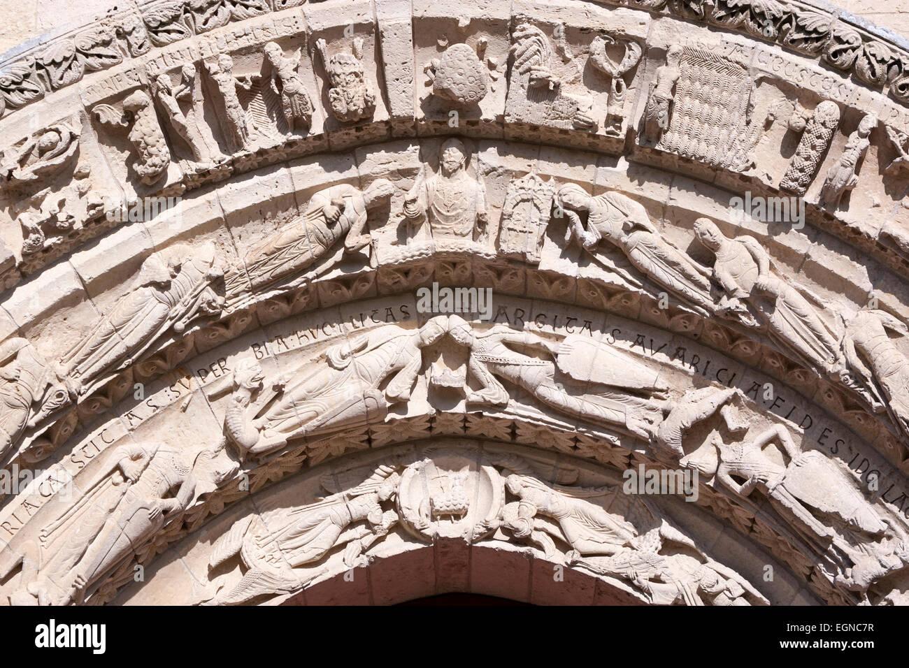 Detail of the front side of Church of Saint-Pierre-de-la-Tour d'Aulnay. - Stock Image