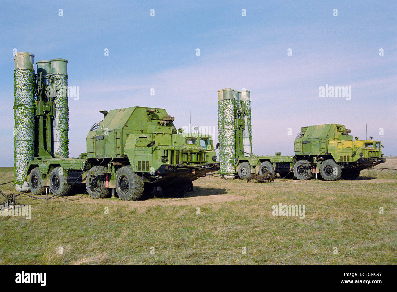Missile air defense systems S-300 (SA-10Grumble) on the launcher Stock Photo