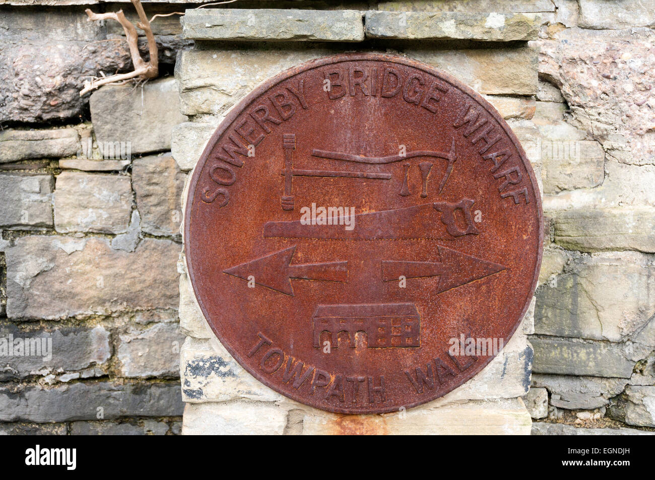 Sign for Towpath Walk on a canalside wall, Sowerby Bridge, West Yorkshire - Stock Image