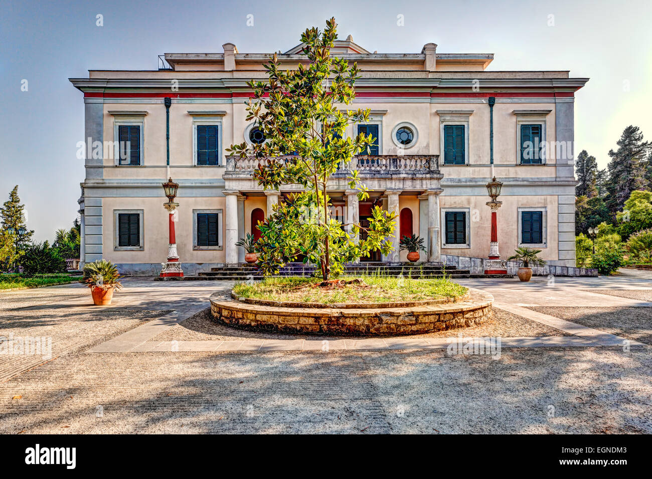 Mon Repos is a villa on the island of Corfu, Greece. - Stock Image