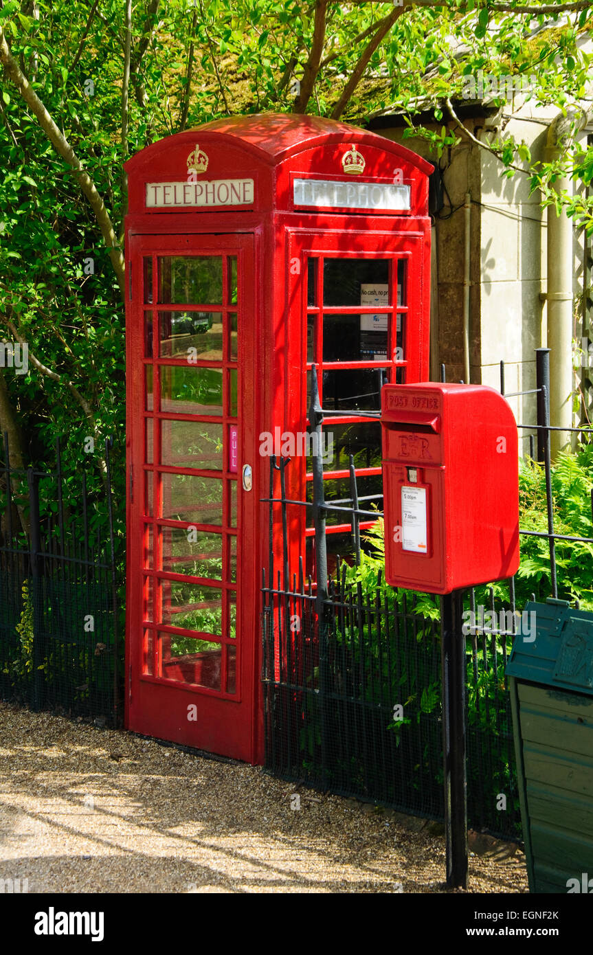 Telephone box and letter box. - Stock Image