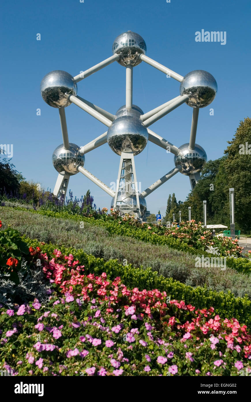 Atomium Brussels Belgium Europe Worldfamous Monument of a iron atomic nucleus, in 2018 60 years old - Stock Image