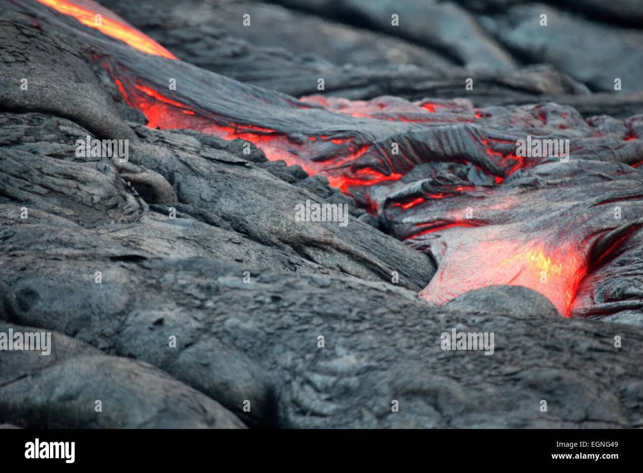 Lava flowing on the Big Island, Hawaii - Stock Image