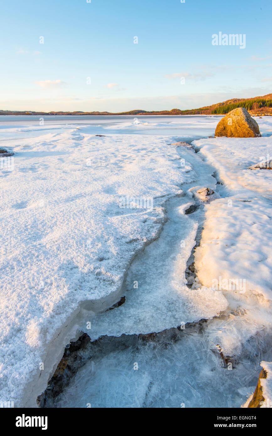 Frozen fjord, Vatnfjorden, Nordpollen, Vagan, Lofoten Islands, Norway - Stock Image