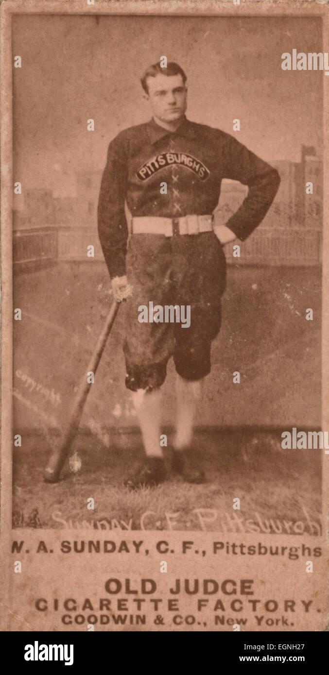 Billy Sunday Pittsburgh Alleghenys Baseball Card Portrait
