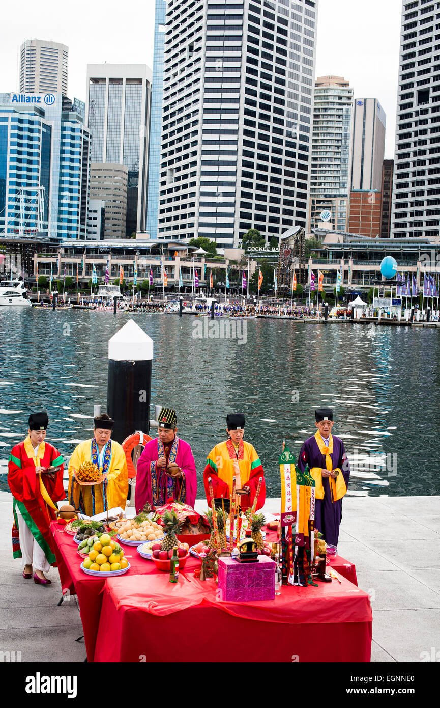 Sydney, Australia. 28th February, 2015. A Taoist Water blessing event was held before the start of the 2015 Sydney - Stock Image