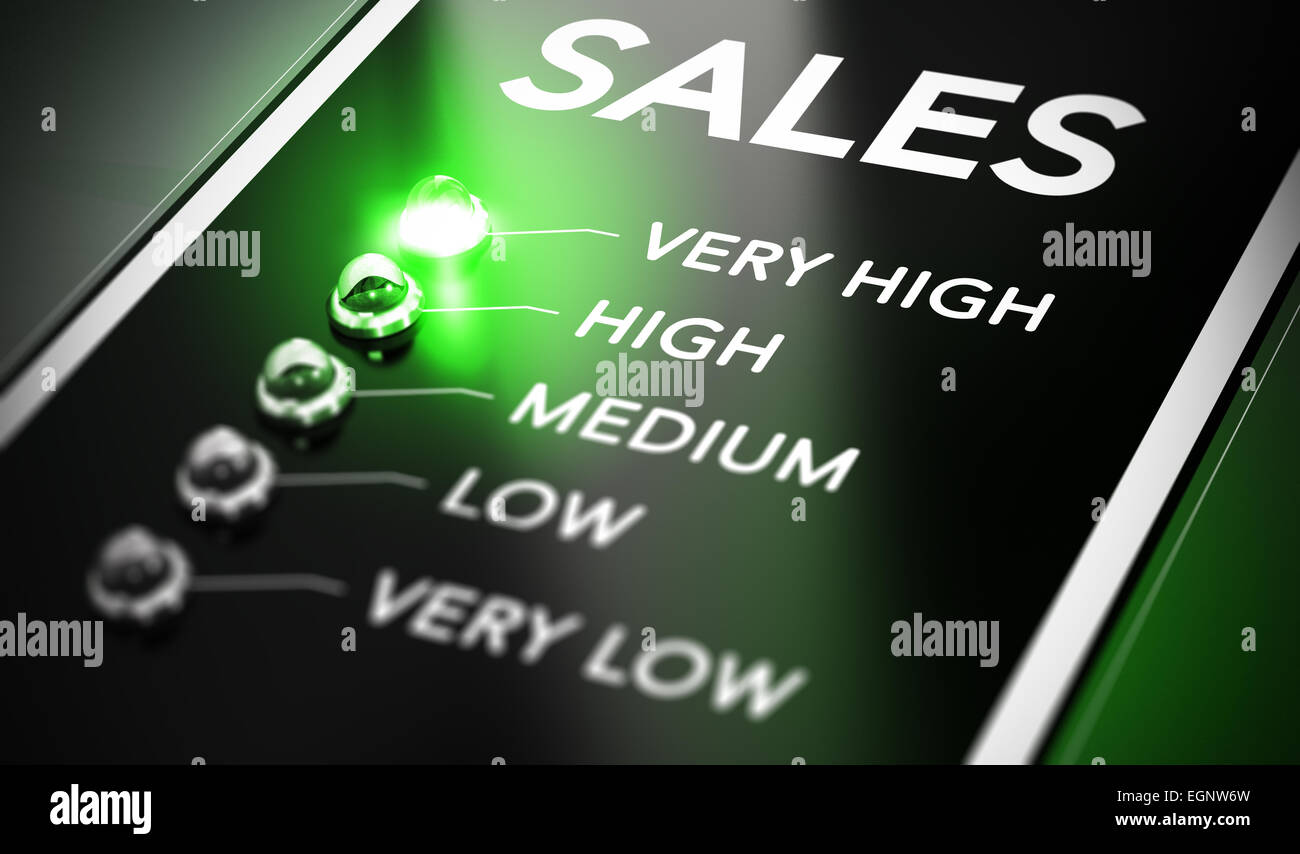 Sales management concept. Salesforce monitoring system with green light in front of very high. - Stock Image