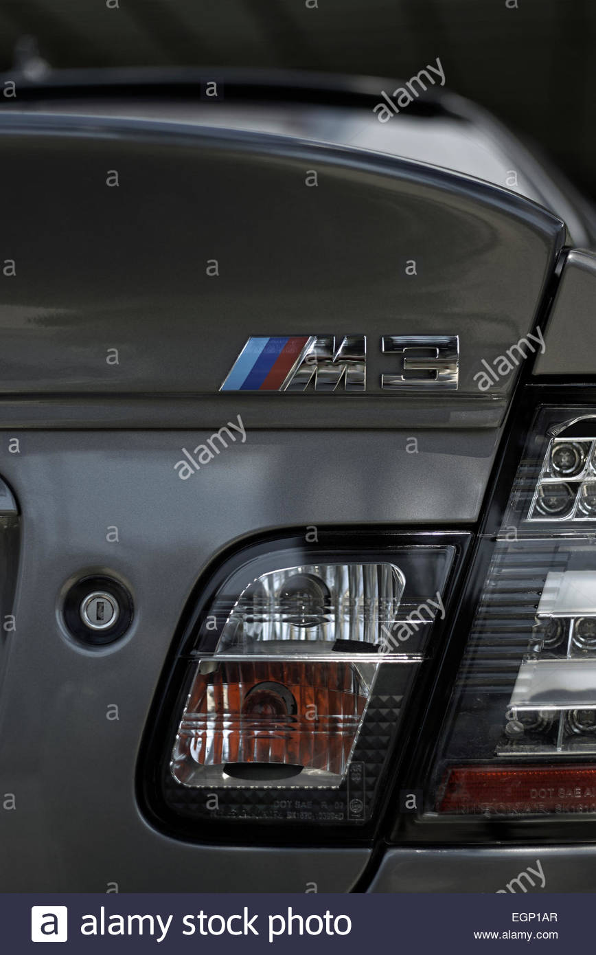 Rear View Of Emblem And Light Cluster Of A BMW M3 Saloon Car.   Stock