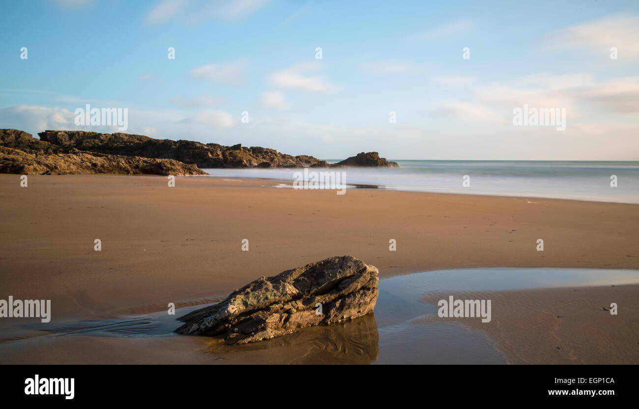 Long exposure of the beach at Sharrow Point on the Rame Peninsula - Stock Image