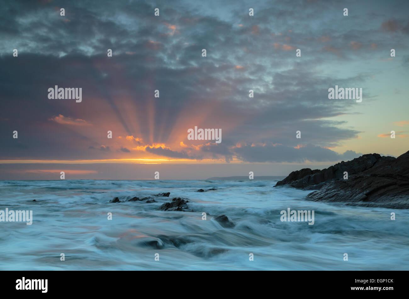 Sunrays at Sharrow Point, Whitsand Bay - Stock Image