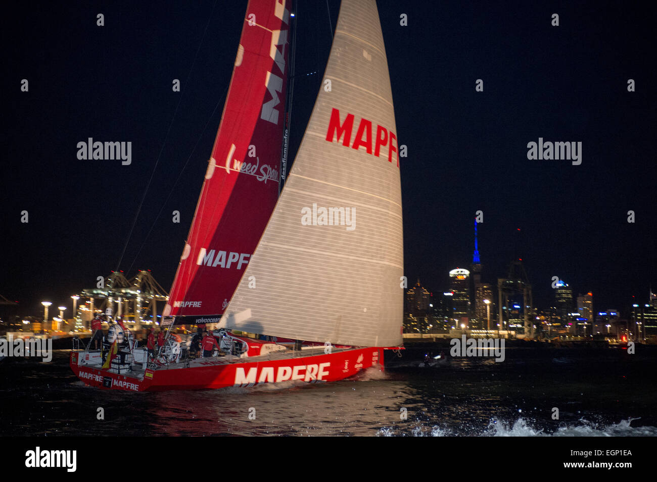 Auckland, New Zealand. 28th February, 2015. Volvo Ocean Race 2014 - 2015. Mapfre Skipped by Xabi Fernandez (ESP) - Stock Image