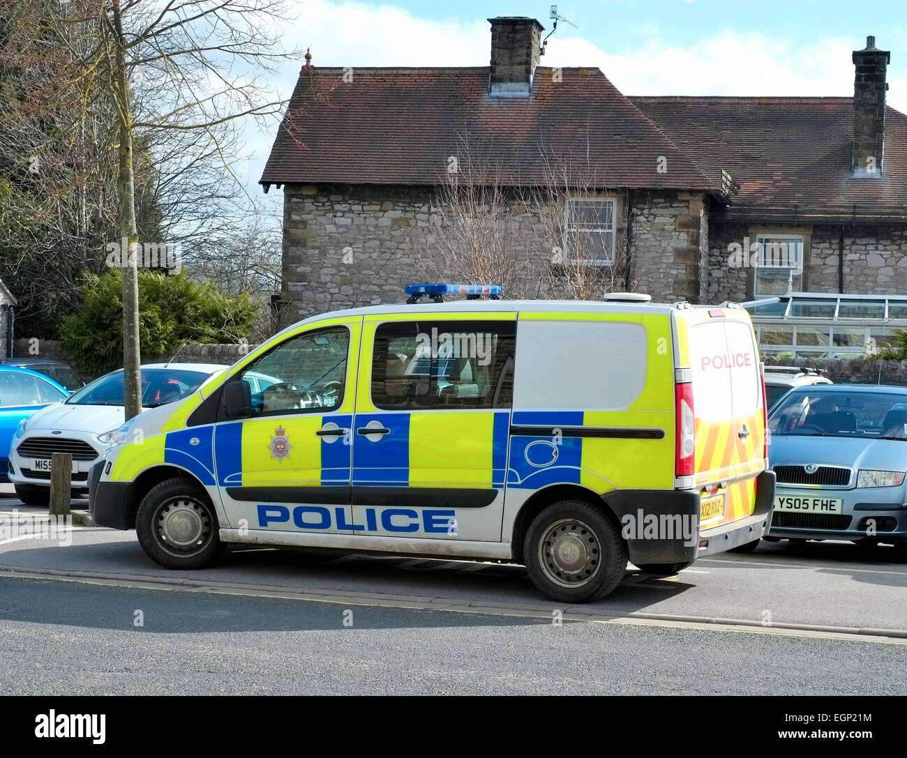 Bakewell,Derbyshire,England UK. A Police van parked at the side of the road. - Stock Image