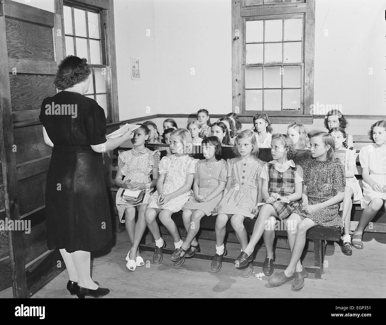 AMERICAN SUNDAY SCHOOL in  Lejunior, Kentucky, September 1946. Photo: US Dept of the Interior Stock Photo