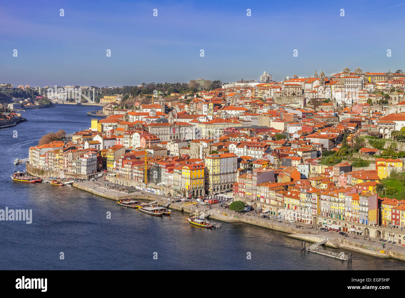 Porto, Portugal. The typical colorful buildings of the Ribeira District and the Douro River in the city of Porto, - Stock Image