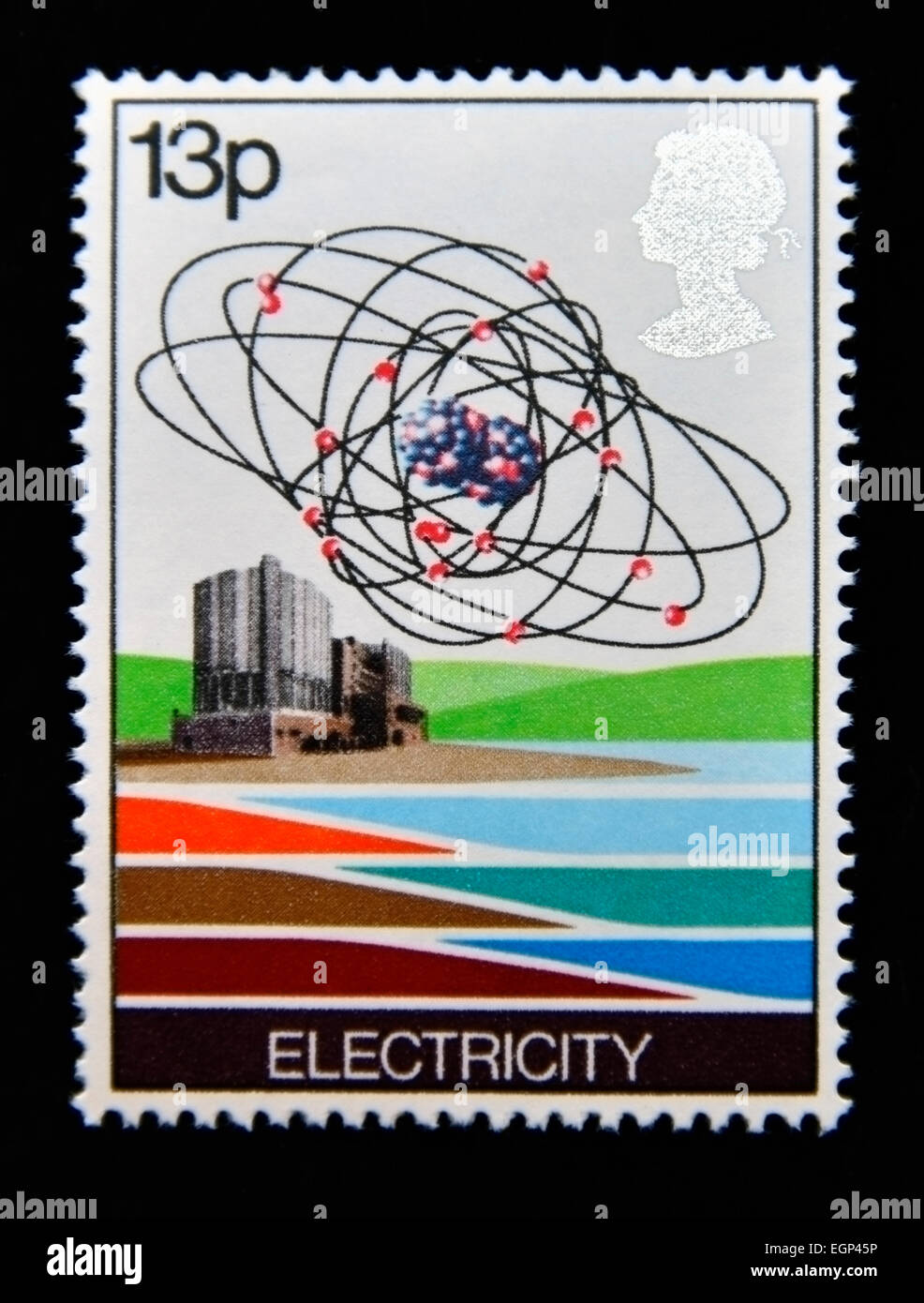 Postage stamp. Great Britain. Queen Elizabeth II. 1978. Energy Resources. Electricity - Nuclear Power Station and - Stock Image