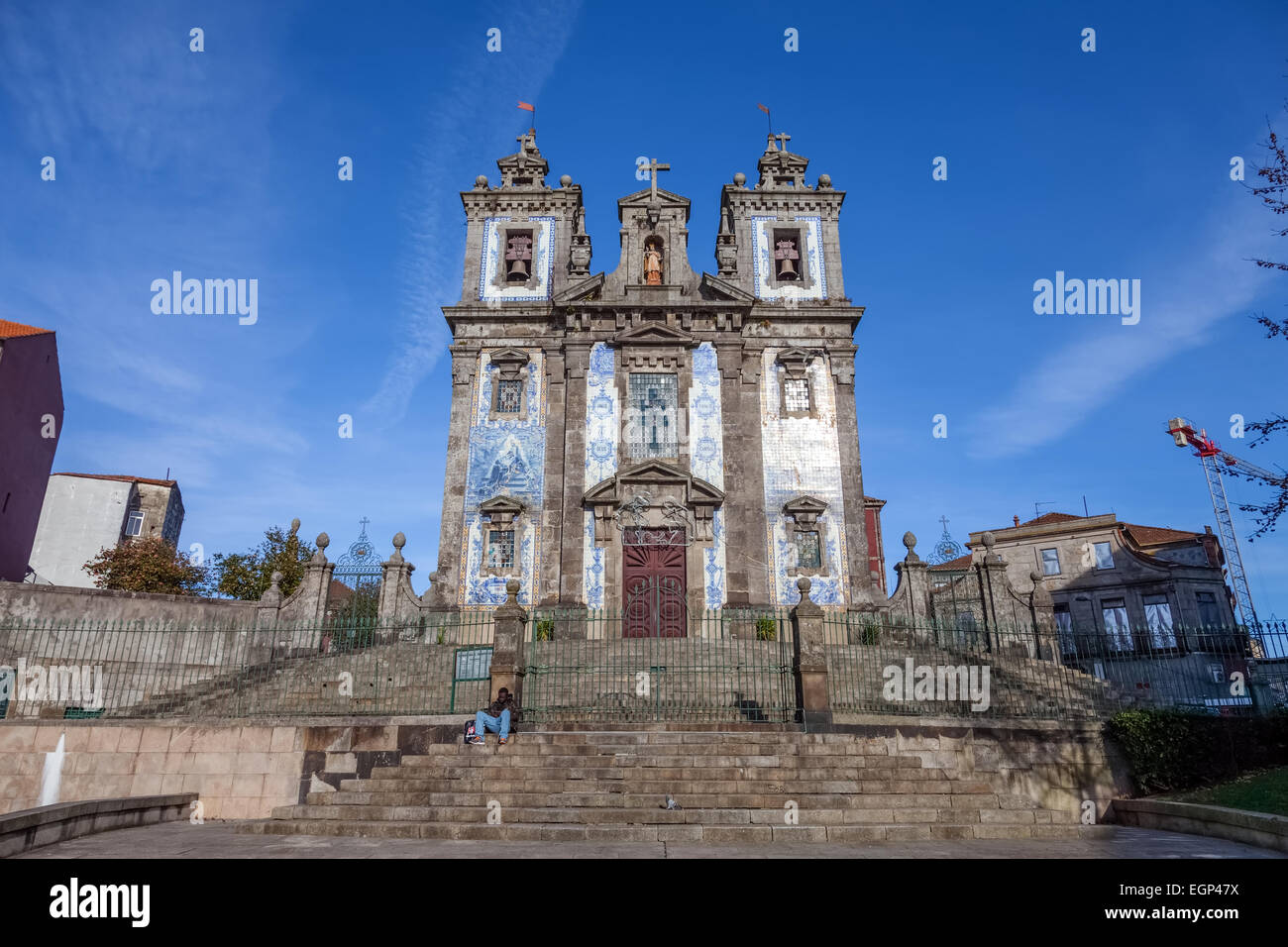 Santo Ildefonso Church in the city of Porto, Portugal. 18th century Baroque architecture, covered with Portuguese - Stock Image