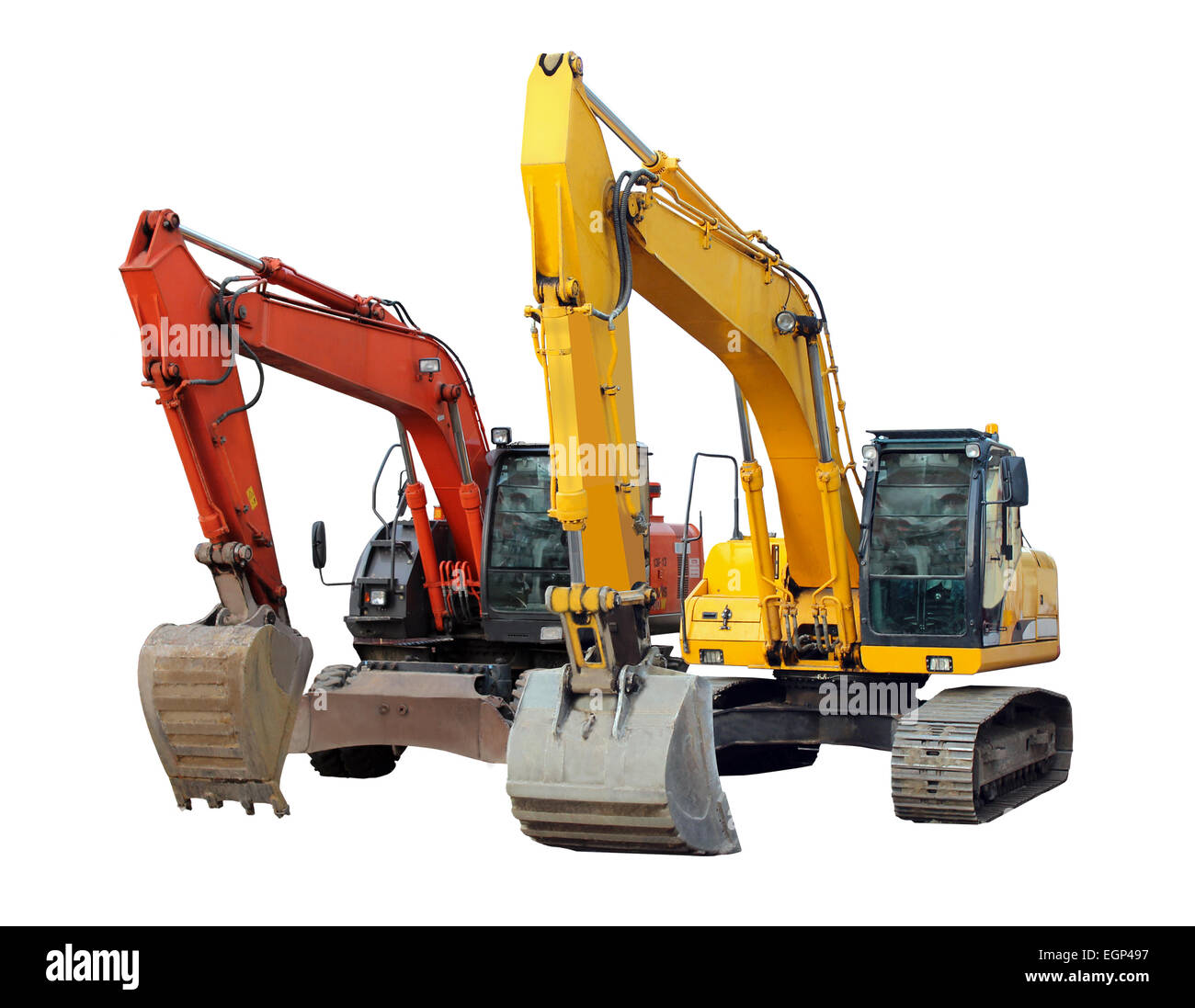 two modern excavators isolated on the white background - Stock Image