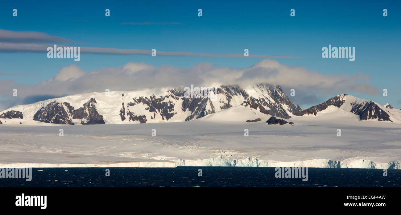 Antarctica, Antarctic Sound, continental, ice shelf in summer, panoramic - Stock Image