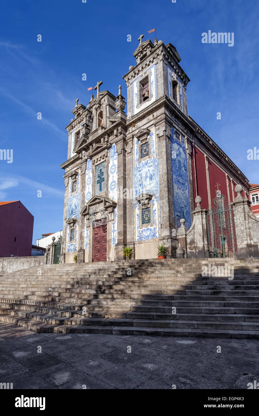 Santo Ildefonso Church in the city of Porto, Portugal. 18th century Baroque architecture, covered with Portuguese Stock Photo