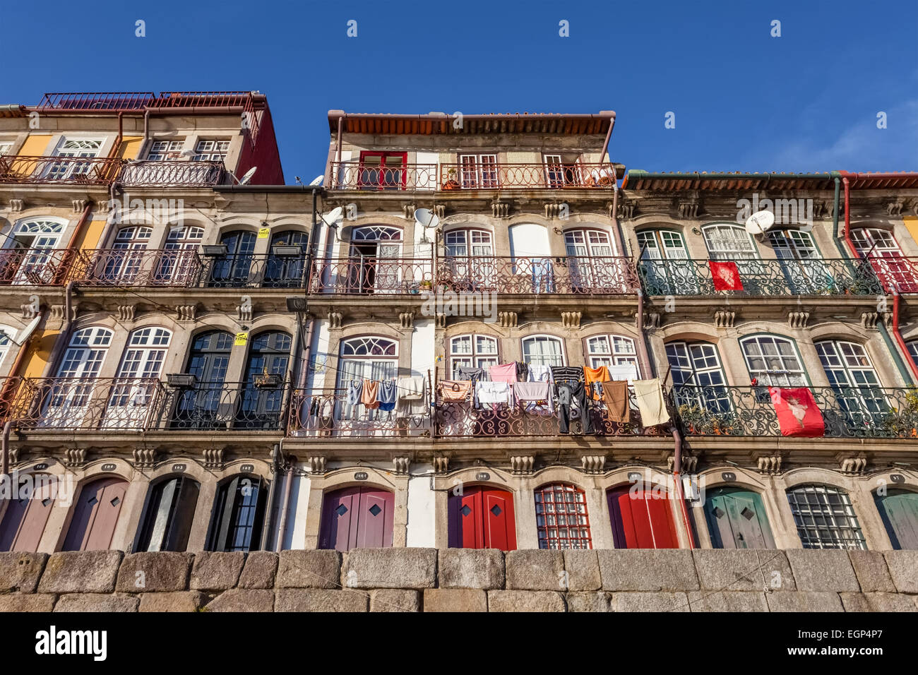 Porto, Portugal. The typical colorful buildings of the Ribeira District in Porto, Portugal. Unesco World Heritage - Stock Image