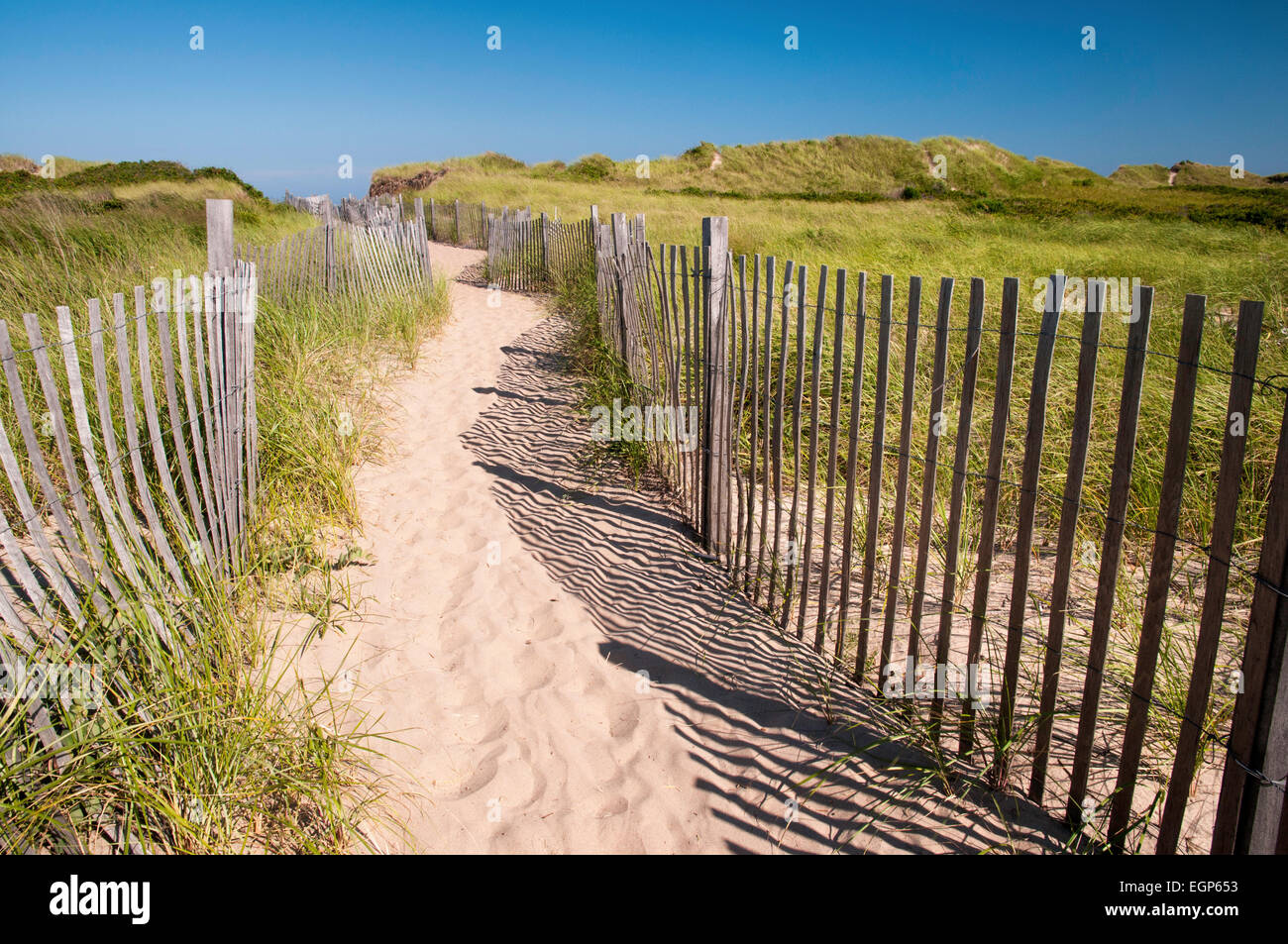 Path to Crescent Beach at Block Island, Rhode Island - Stock Image
