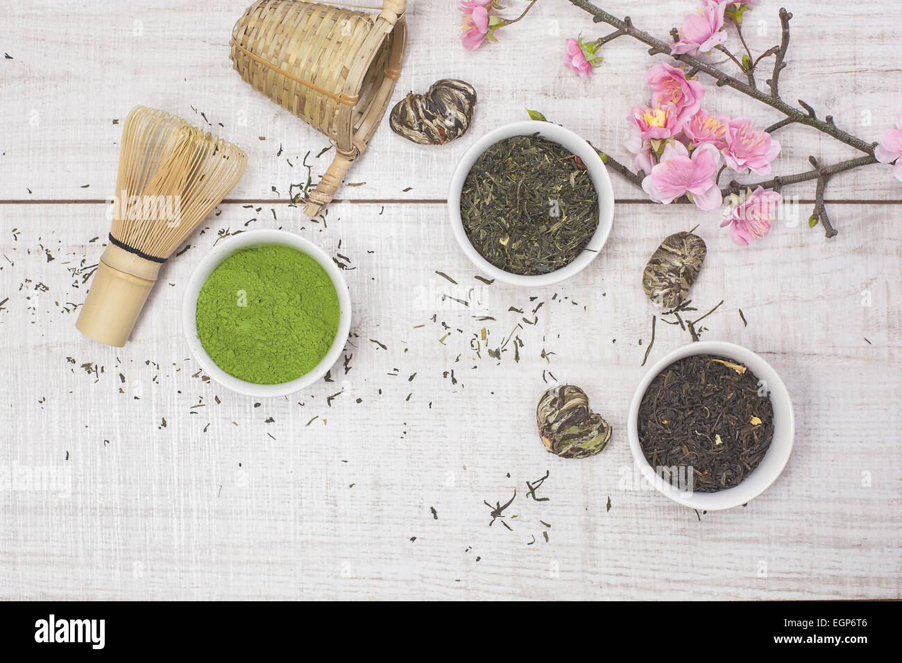 Green Tea Different Types Of Japanese Green Tea Leaves And Powder