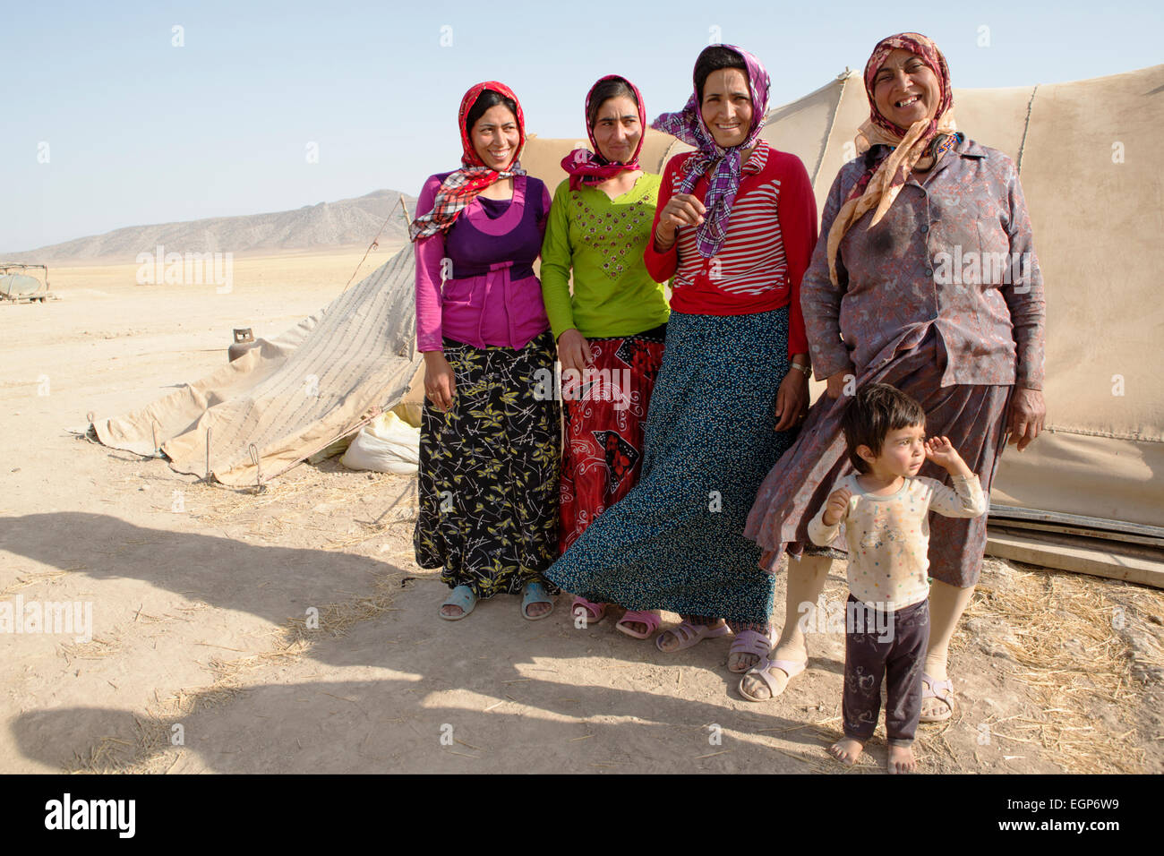 Indigenous nomadic people in Golestan Park, Iran - Stock Image