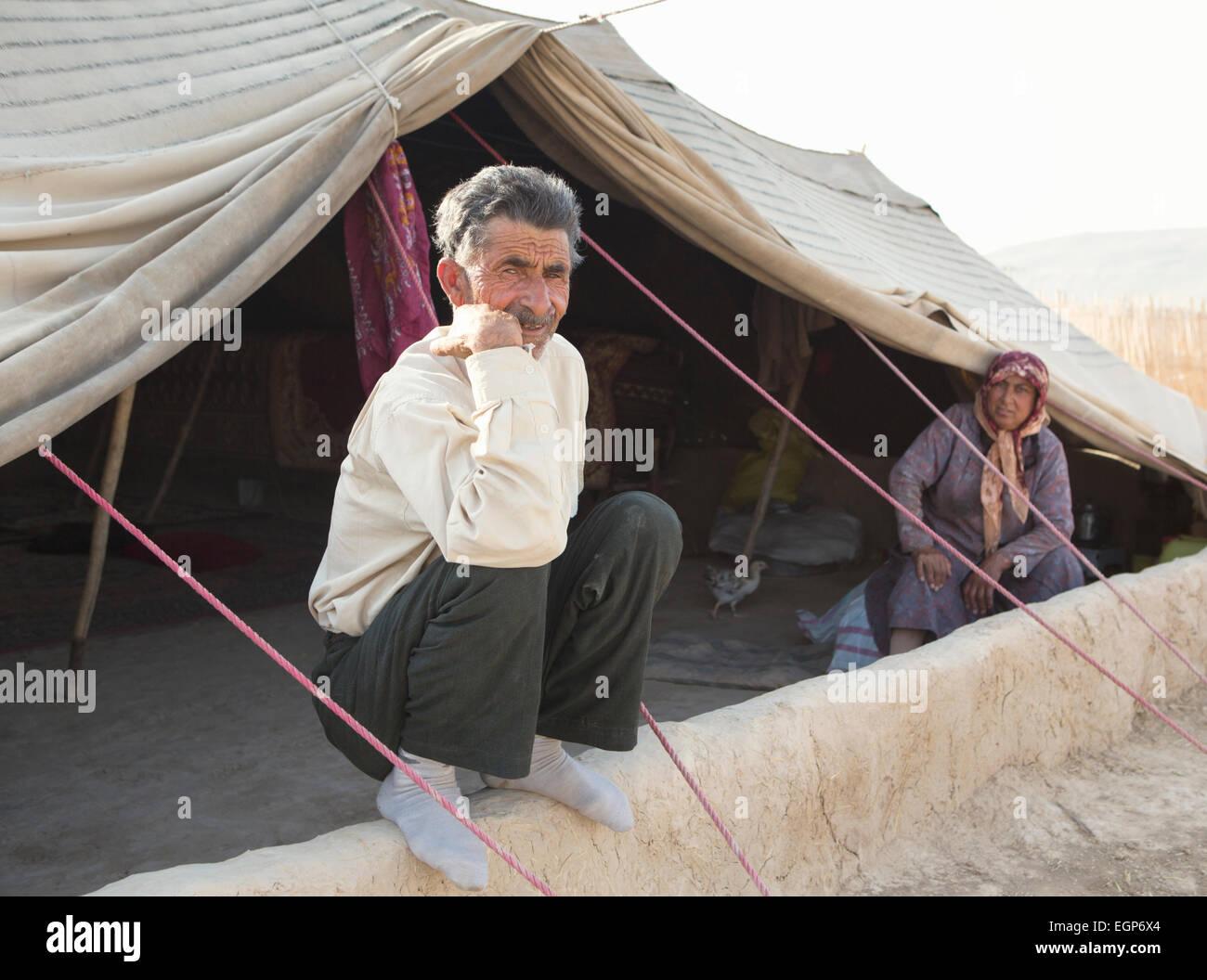 Indiginous nomadic people in Golestan Park, Iran - Stock Image