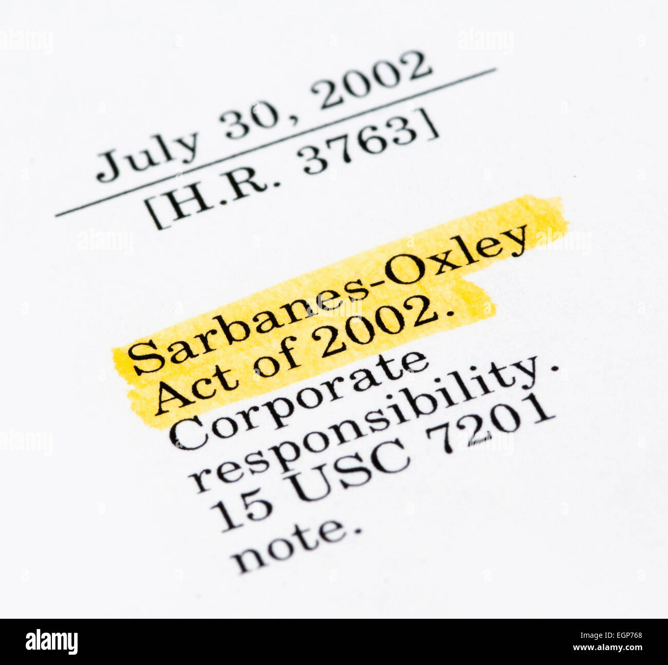 Sarbanes-Oxley Act of 2002, highlighted in the legal document - Stock Image