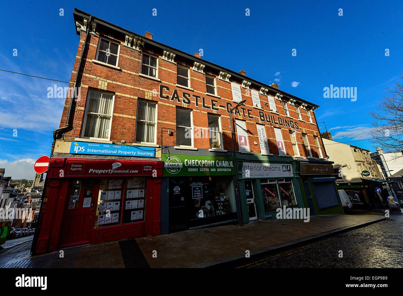 Shop fronts on Waterloo Street, Londonderry, Northern Ireland. Photo: George Sweeney / Alamy - Stock Image