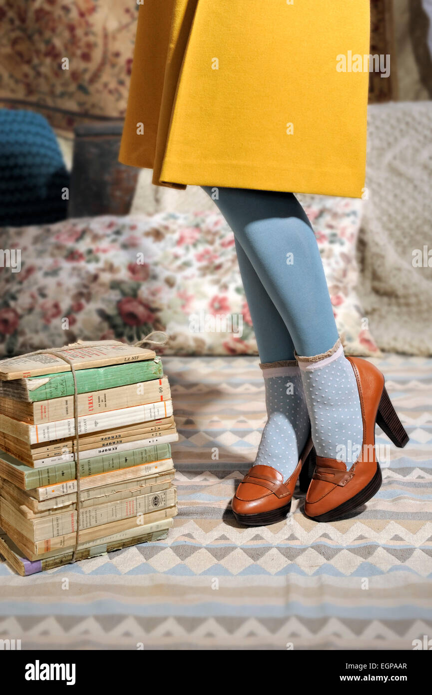 Woman wearing tights and socks - Stock Image