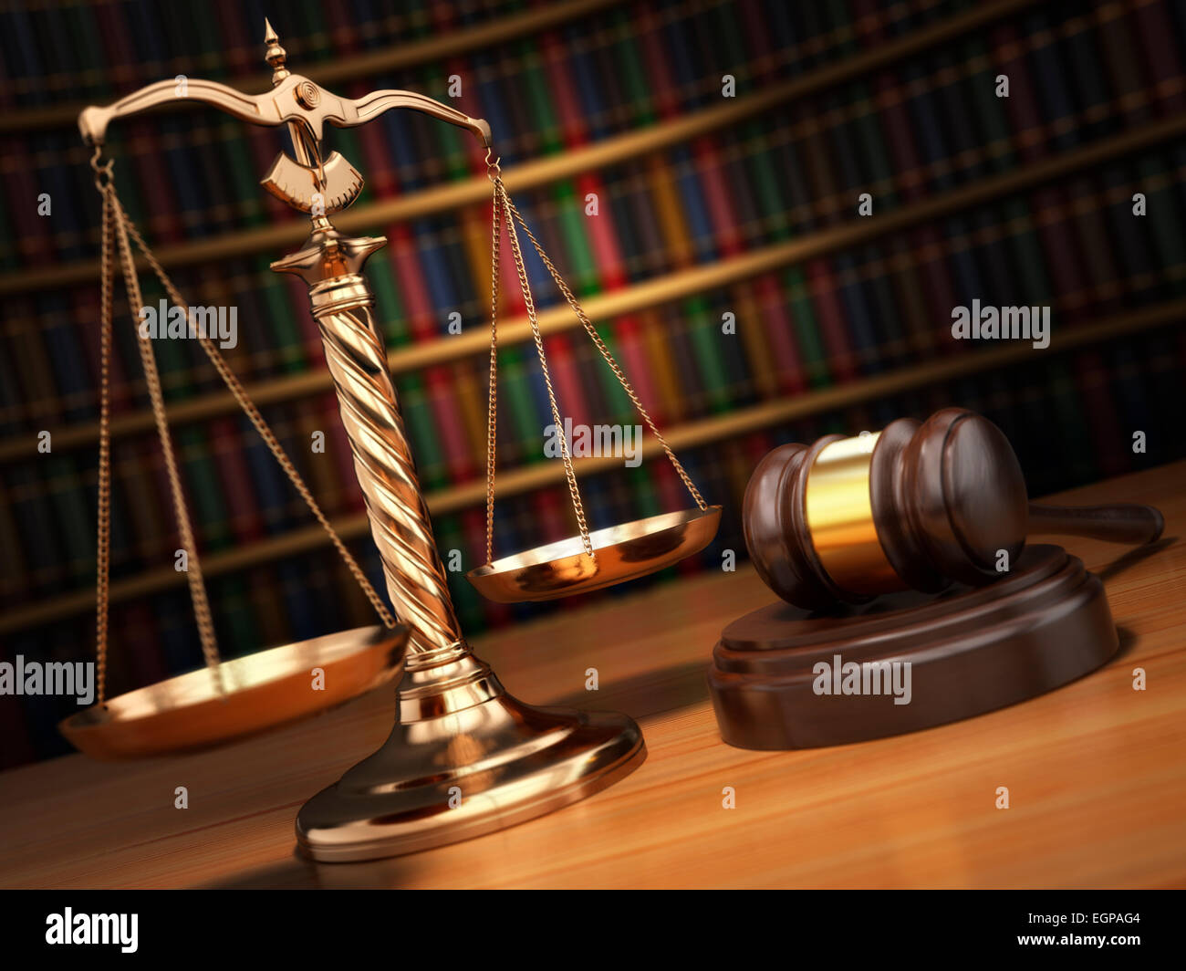 Justice concept. Gavel,  golden scales and books in the library with dof effect.  3d - Stock Image