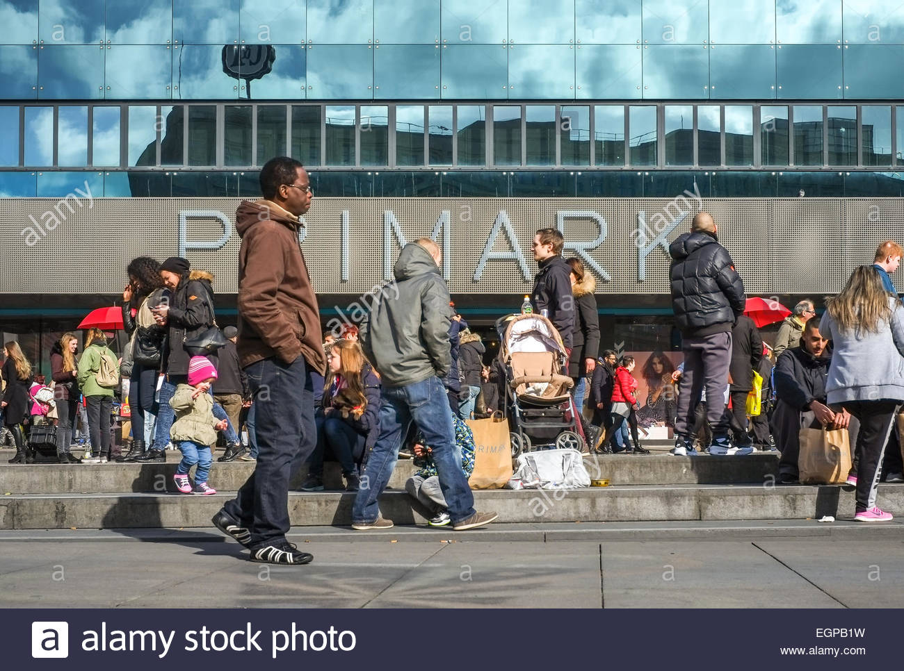 Primark store  shoppers and customers near Alexanderplatz - February 28, 2015 Berlin Germany - Stock Image