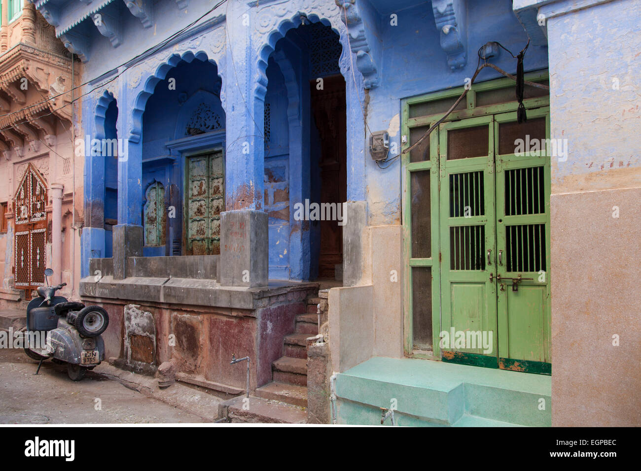 colourful blue house in Jodhpur, Rajasthan, India - Stock Image