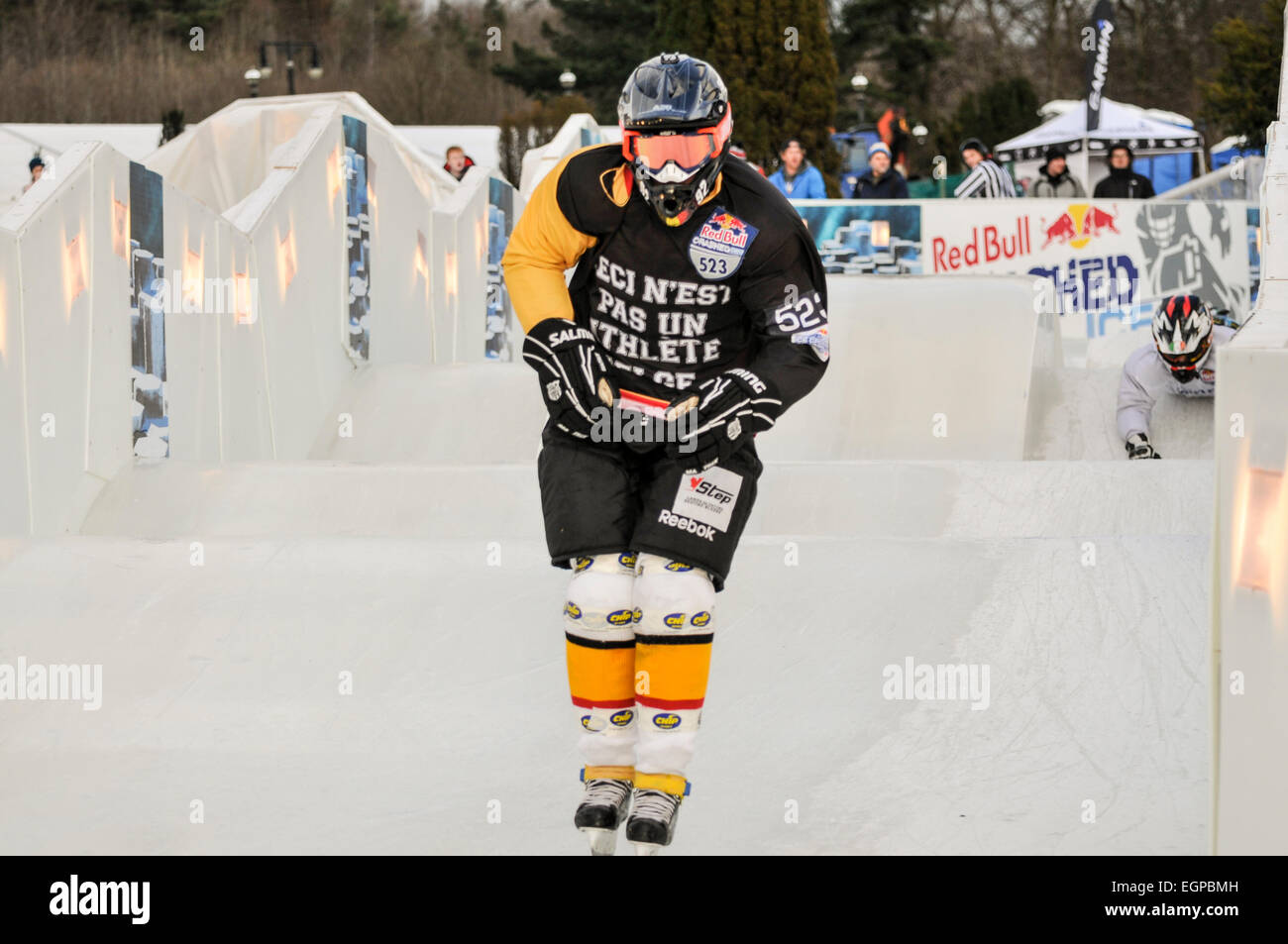 Belfast, Northern Ireland. 20/02/2015 - Red Bull Crashed Ice Team Competition practices - Stock Image