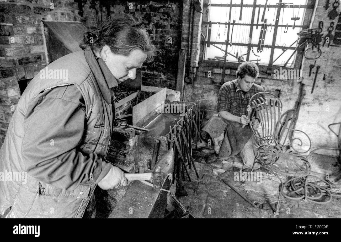 Stephen Darby, 30, and his mother Kate at the Wyvern Foundry in Handcross, West Sussex. - Stock Image